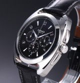 Hermes 'Dressage Chronograph'. Men's watch, steel, with black dial, 2000s