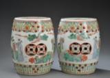 Et par kinesiske taburetter af porcelæn, 1900-tallet (2)