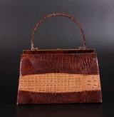 Vintage, håndtaske, krokodille