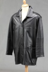 Broch leather. Sort skindjakke, str. 46