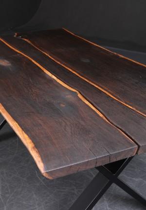 Vare: 3897115 unika spisebord, røget eg, sort pulverlakeret stel ...