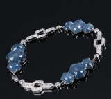 Sapphire and diamond bracelet, total approx 37.00 ct. 18 kt. white gold. First-half of 20th century