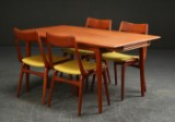 Alfred Christensen. Four teak chairs, model Boomerang, and table with extension, from Slagelse Møbelfabrik (5)