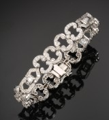 Diamond bracelet, 18 kt. rhodium-plated gold, total approx. 3.25 ct