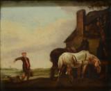 Ubekendt kunstner, antagelig hollandsk, 1700 tallet, olie på plade, gårdmotiv med heste