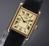Cartier 'Tank Vermeil'. Men's watch, gilt sterling silver with pale dial, 1990s