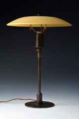 Poul Henningsen. PH 4/3 table lamp with matt yellow upper shade, PAT. APPL