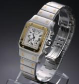Cartier 'Santos Chronoflex'. Midsizeur i 18 kt. guld og stål med chronograf, ca. 2000