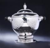 Fritz S. Heimbürger. Large Danish Art Nouveau tureen/silver bowl/wine cooler, 1926