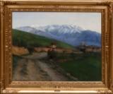 Peter Tom Petersen, landskabsmotiv fra Civita d'Antino i Italien, olie på lærred