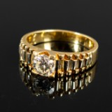 750 gold ring with diamonds, approx. 1.17 ct