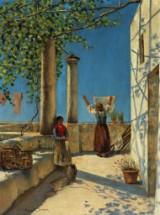 Holger H. Jerichau. Italienske kvinder ved arbejdet under en pergola
