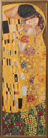 Ubekendt kunstner, akryl på lærred, 'Kysset' efter Klimt