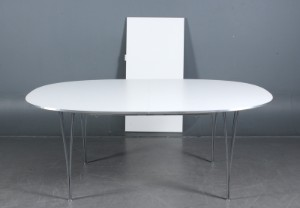 Piet Hein & Bruno Mathsson. Super Elipse bord med udtræk, (2 ...