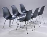 Charles Eames. Sæt på seks skalstole, model DSX, sort (6)