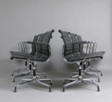 Charles & Ray Eames, set of chairs model EA 108 in leather by Vitra (6)