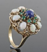 Ring with opal, lapis lazulli and emeralds, 14kt. gold.