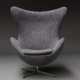Arne Jacobsen. Lounge chair, 'The Egg', Model 3316, upholstered in Raf Simon's wool from Kvadrat