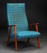 Dansk møbelproducent. Lænestol med stel af teak, ca. 1960erne