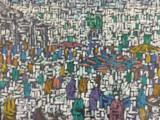 Giovanni Marchetti, Öl und Sand auf Hartfaserplatte, Titel: Markt in Sabaudia 1958