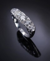 Vintage diamond ring in platinum, approx. 1.85 ct.