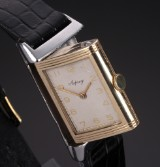 Cyma for Asprey 'Reverso'. Vintage men's watch, 14 kt. gold and steel, c. 1930-40s