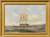 Ubekendt Kunstner, olie på malepap, marine