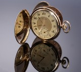 Eterna 'Chronometre'. Newly renovated men's pocket watch, 14 kt. gold, c. 1934