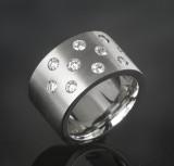 Brilliant-cut diamond ring, 'starry sky' approx. 1.00 ct.