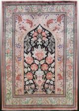 Oriental carpet, signed, Ghom, silk, 145x107 cm