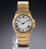 Cartier 'Santos Ronde'. Automatische Herrenuhr aus 18 kt. Gelbgold mit hellem Zifferblatt, 1990er Jahre