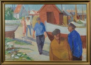 Nis Stougaard, motiv med fiskerleje - Dk, Odense, Kratholmvej - Nis Stougaard (1906-1987), motiv med fiskerleje, olie på lærred, sign. Nis Stougaard, 68x98 cm. (76x105 cm). - Dk, Odense, Kratholmvej