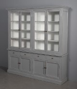Two-section glass cabinet, antiqued paint (2)
