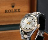 Rolex Datejust. Ladies watch, 18 kt. gold and steel with date, c. 1971