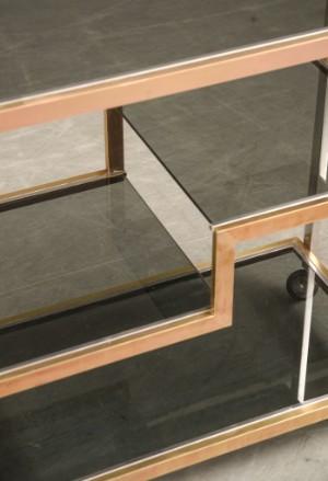 servierwagen barwagen messing chrom und glas italien 70er jahre romeo rega. Black Bedroom Furniture Sets. Home Design Ideas