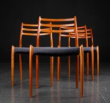 N. O. Møller. Four cherry wood dining chairs, model 78 (4)