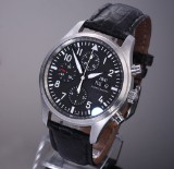 IWC 'Fliegeruhr'. Men's chronograph, steel with black dial, certificate 2010