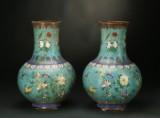 Et par cloissoné vaser. Kina, 1700-tallet (2)
