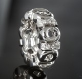 Heavy, broad ladies' ring, white gold, brilliant-cut diamonds approx. 0.61 ct.