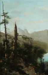 Georg Emil Libert. Landskab ved en bjergsø, olie på malerpap