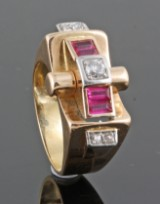 Diamond ring with rubies in 18kt approx. 0.20ct