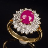 Ruby ring, 18kt, R.2.00ct , 1.38ct Brill. W-VS
