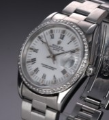 Rolex 'Date'. Men's watch, steel, with white dial and diamond bezel, c. 2003