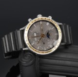 Bo Bonfils for Georg Jensen. Men's chronograph, 18 kt. gold and steel with phases of the moon