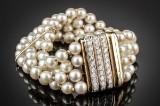 Perle- og brillantarmbånd af guld 18 kt.