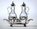 Fransk rococo olie- og eddikestand af sølv, Paris 1771