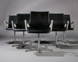Arne Jacobsen. Set of six 'Red Label' Oxford lounge chairs with leather, 'Red Label' from 2007' (6)