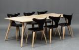 Danform: Seks stole model 'Dolphin' samt spisebord (7)