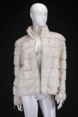 Mink coat, short model, pearl, size 36/38