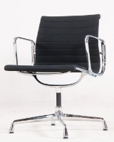 Charles & Ray Eames, armchair/aluminium chair from the Aluminium Group Series EA 108 cm in black hopsack by Vitra